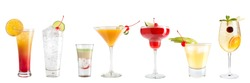 Set of a variety of cocktails decorated with berries on a white background. Isolated. Banner.