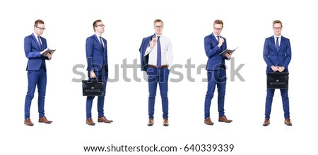 Set of a young and handsome businessman isolated on white. #640339339