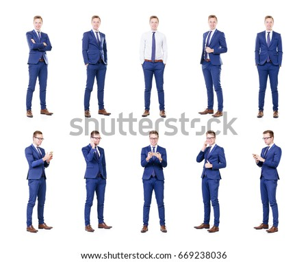 Set of a young and handsome businessman isolated on white.