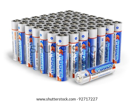 Set of AA size batteries isolated on white background