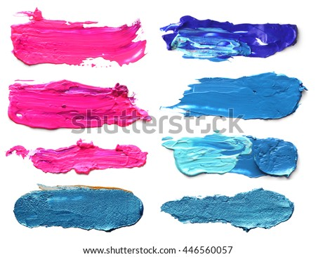 Set of abstract acrylic brush strokes. #446560057