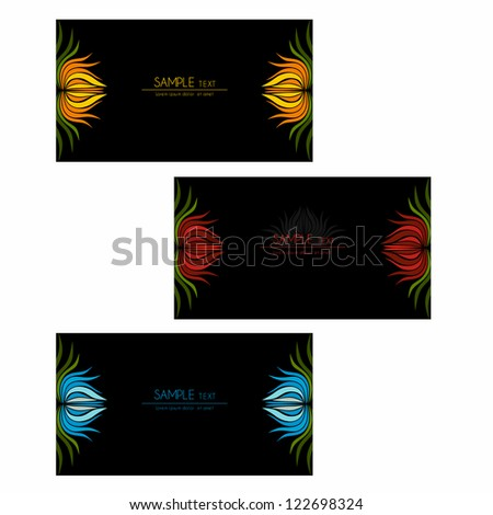 Set of abstract cards with flowers colorful elements