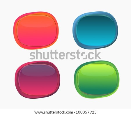 Set of Abstract glossy speech bubbles