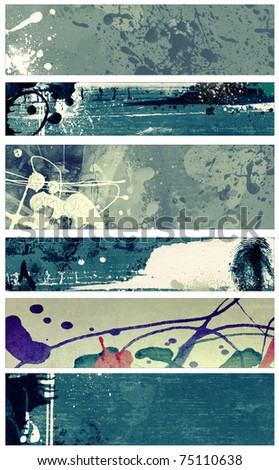 Set of abstract grunge and watercolor banners  isolated on white background.