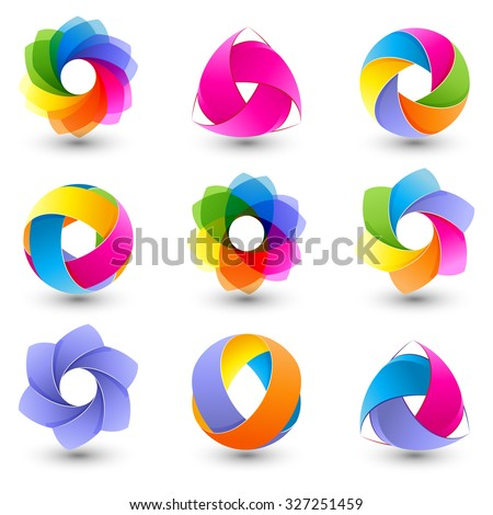 Set of abstract round design element