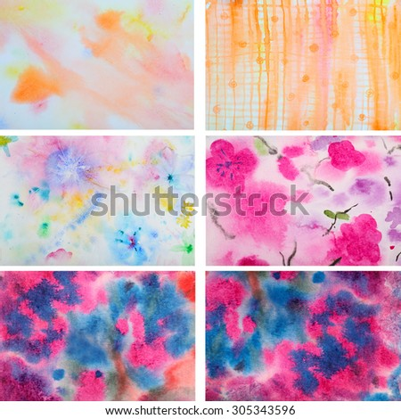 Set of 6 abstract watercolor background. Multicolor background. Grunge Background. Painting Background. Vintage Background. Art background. Hand draw painting background and texture.