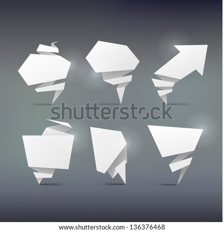 set of Abstract white origami banners design element .bitmap version