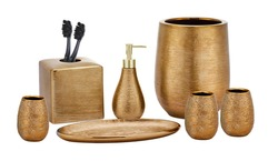 Set of accessories for bath and personal hygiene on white background, Beautiful hygiene set, Golden Bath Accessories