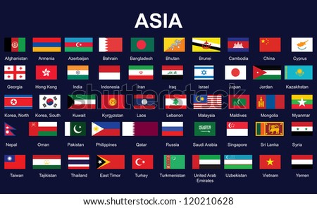 set of accurate flags of Asia