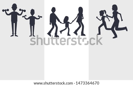 Set of active lifestyle cards illustration isolated on white backdrops black text sample silhouettes doing varied sport activity families
