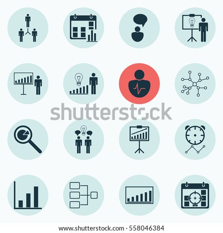 Set Of 16 Administration Icons. Includes Presentation Date, Co-Working, Conversation And Other Symbols. Beautiful Design Elements. #558046384