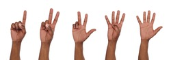 Set of african american male hand show counting one, two, three, four, five. Isolated at white background