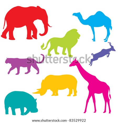 Set of African animals, isolated and grouped objects over white background