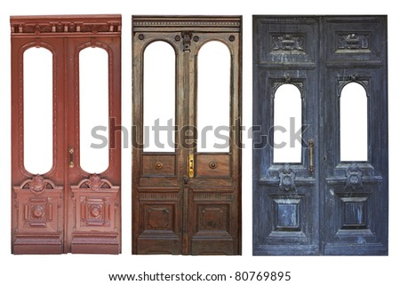 Set of aged doors isolated on white background