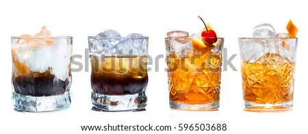 Set of alcoholic cocktails isolated on white background #596503688