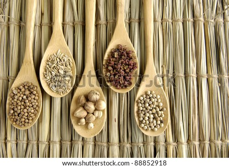 Set of Allspice, peppercorns and white peppercorns, nutmeg seeds on wooden spoon