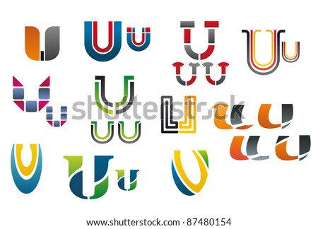 Set of alphabet symbols and elements of letter U, such a logo. Vector version also available in gallery