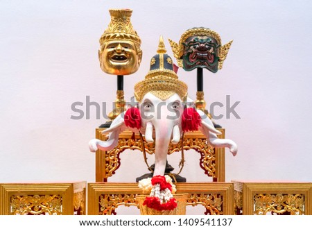 Set of altar table Lord Ganesha Hindu God with Hermit and Giant the actors give worship and faith