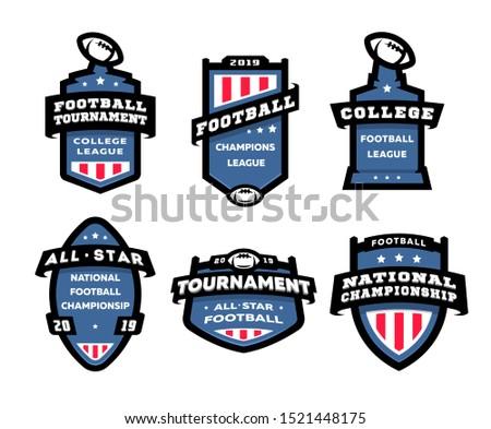 Set of American football logos, emblems, labels
