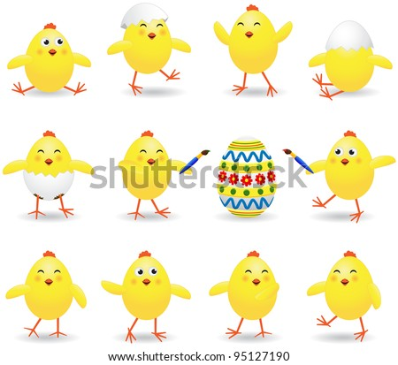 Set of amusing Easter chickens on white background, illustration
