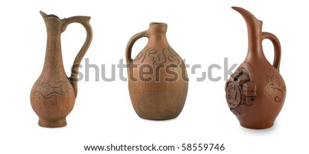 Set of 3 Ancient Jugs isolated on white background - stock photo