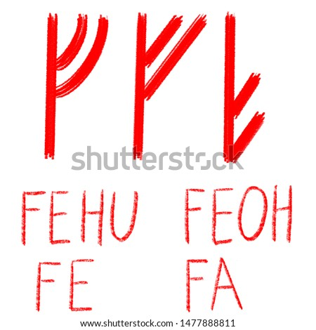Set of ancient runes. Versions of Fehu rune with German, English and Old Scandinavian titles. Rune Fehu Feoh Fe, symbol of money, wealth, prosperity. Senior futark. Ancient occult symbols.