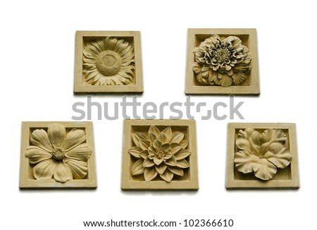 Set of ancient stone inscription tropical Flower and flora collection icon set in isolated background (small size)