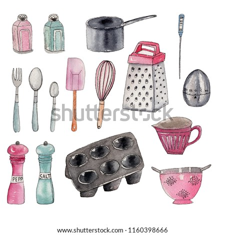 Set of and drawn watercolor isolated kitchen supplies