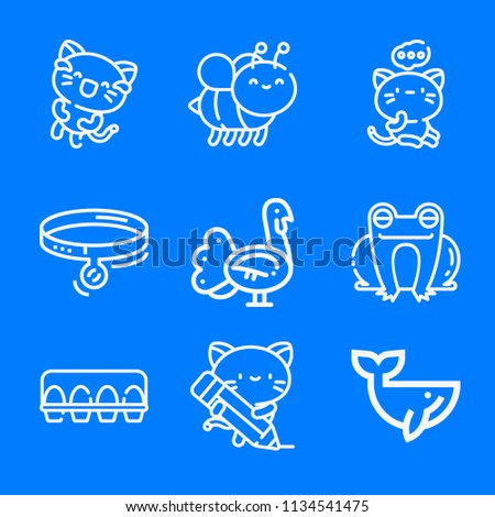 Set of 9 animals outline icons such as collar, kitty, turkey, whale, frog, eggs