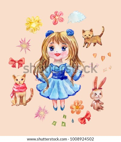 Set of anime stickers drawn in watercolor. Collection of chibi girl, pets and funny elements like a bow, stars, speach cloud