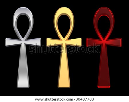 Set of ankh symbols isolated on the black. Computer generated 3D photo rendering.