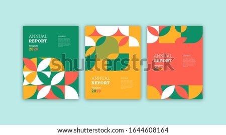 Set of annual report, book cover, abstract cover.