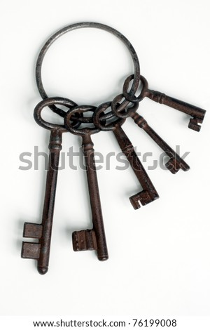 Set of antique old  keys over white background - stock photo