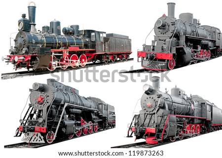 Set of antique steam locomotives on white background