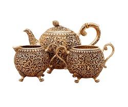 set of antique teapot isolated on white background, golden teapot set, metal kettle set