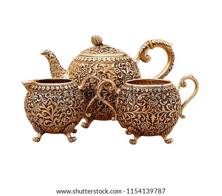 set of antique teapot isolated on white background, golden teapot set, metal kettle set