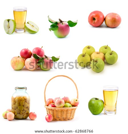 Set of apples isolated on a white background