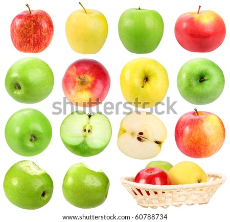 Set of apples. Isolated on white background. Close-up. Studio photography.