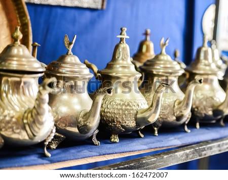 Set of arabic nana mint tea with metal tea pot
