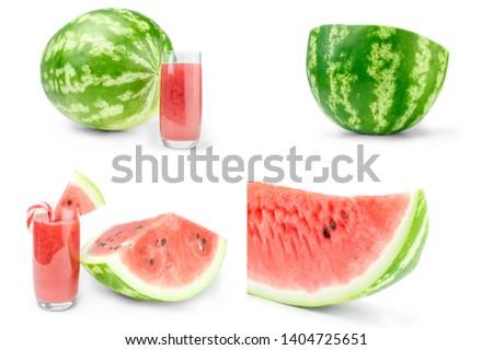 Set of Arbuz isolated on a white background cutout Zdjęcia stock ©