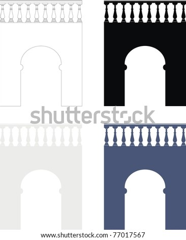 Set of architectural element - ancient stone arch (bridge) with balustrade gray, black, dark blue silhouettes  and contour - isolated illustration on white background