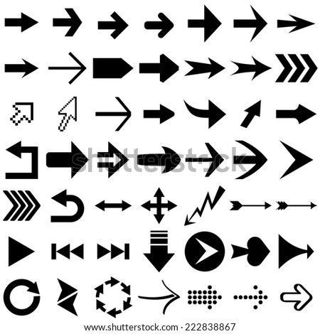 Set of arrow shapes  isolated on white. #222838867