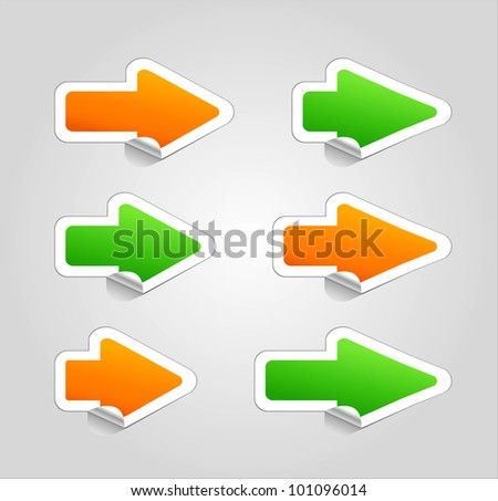 Set of arrow stickers . - stock photo