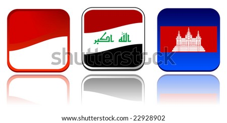 set of asia, australia and ozeania flags vector illustration