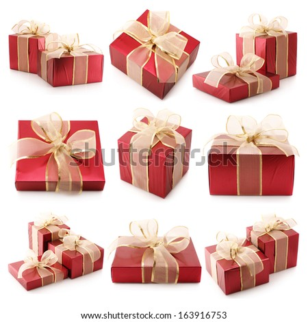 Set of assorted gifts isolated on white background.
