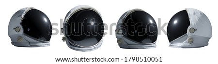 set of astronaut helmets isolated on white background (3d render banner)