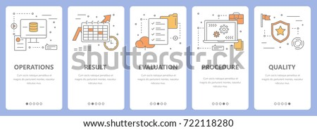 Set of audit concept vertical banners. Operations, result, evaluation, procedure and quality concept elements. Thin line flat design symbols, icons for website menu, print.