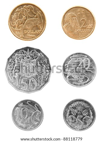 Set of Australian coin currency money, including 5, 10, 20 and 50 cent coins, plus 1 and 2 dollars, isolated on white