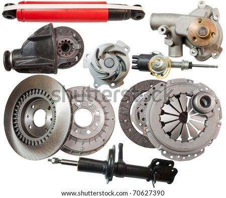 Set of automobile  parts. Isolated on white with clipping path
