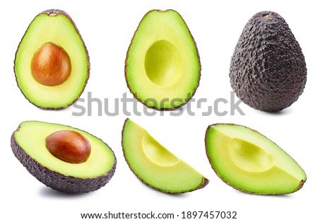 Set of avocado isolated on a white background. Avocado stack full depth of field macro shot. Avocado with clipping path Foto stock ©